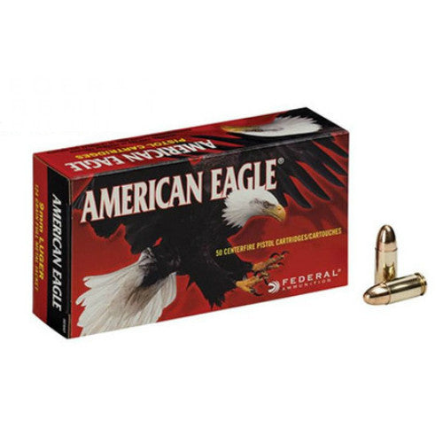 Case of American Eagle 9mm 124 gr FMJ (1000 Rounds)