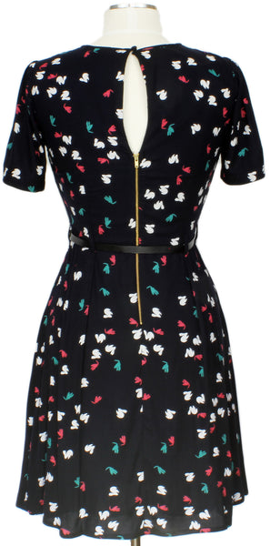Bunny trail dress, black, day dress, belted, animals