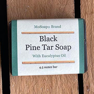 Packaging of Black Pine Tar Soap with Eucalyptus MoSoap