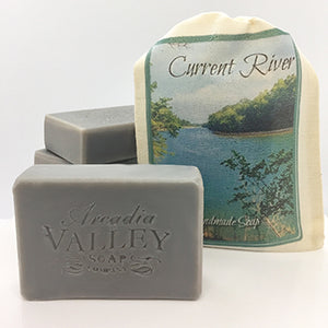 Choose between a simple bar or a soap in a bag of our Current River all natural soap