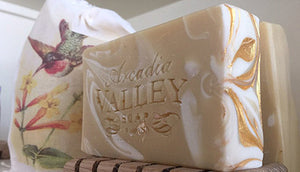 Beautiful Gold Swirl Tops of Arcadia Valley Soap Co.'s Honeysuckle soap