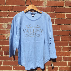 Pale Blue Arcadia Valley Soap Co Top with 3/4 length sleeves