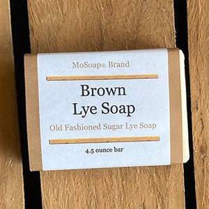 Packaging for MoSoap's Brown Lye Soap