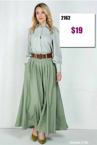 Green pleated skirt 2162