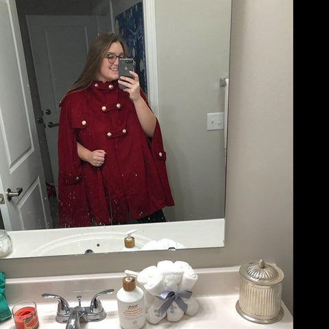 red hooded wool cape