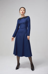 blue wool long women dress with long sleeves 2208