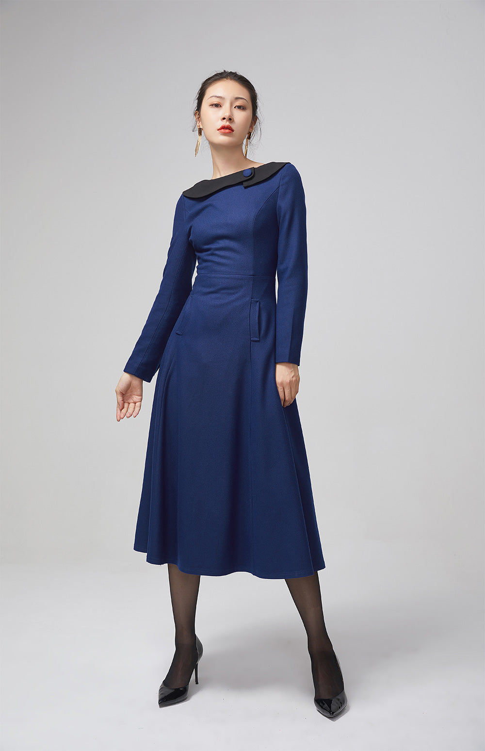 blue wool long women dress with long sleeves 2208#