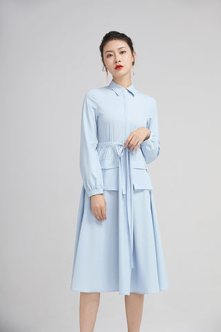 light blue spring dress for women with long sleeves and pockets 2229