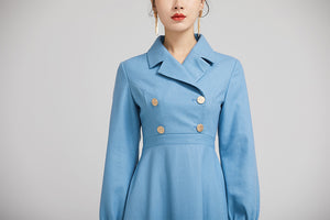 elegant blue wool winter dress with double breasted 2231