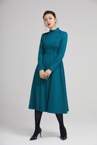 winter wool long fit and flare warm dress for women  2232