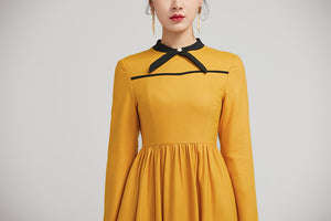yellow winter wool fit and flare dress for women with long sleeves 2233