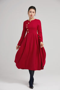 red warm winter midi pleated dress with button 2234