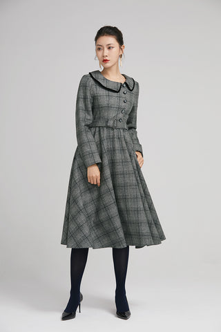 vintage women winter dress  with long sleeves 2235