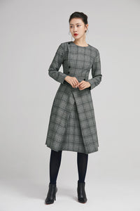 retro winter wool plaid dress with long sleeves 2236