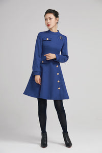 winter short wool dress with pockets and long sleeves 2238
