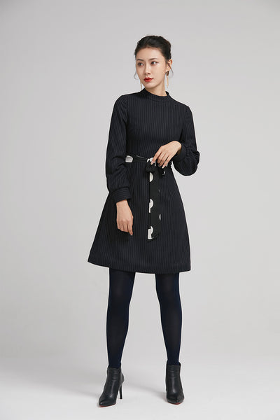 navy blue winter short wool dress with long sleeves 2239