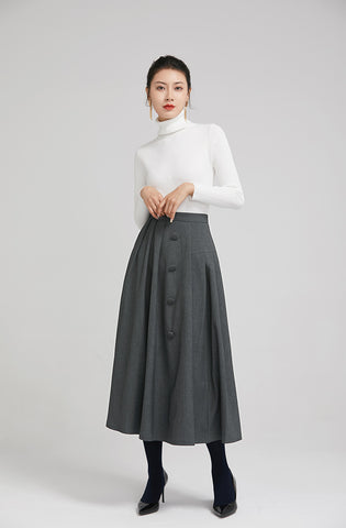dark grey elegant wool pleated skirt  with button 2246