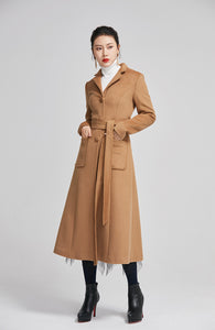 brown women winter wool coat with double breasted and pockets 2248
