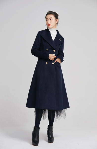 navy wool coat for women with double breasted and pockets  2249