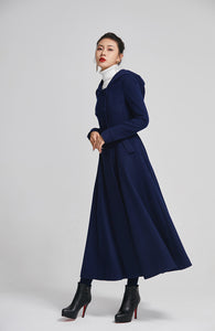 blue winter wool coat for women with double breasted 2250