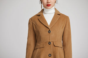 warm winter coat for women with single breasted and pockets 2251
