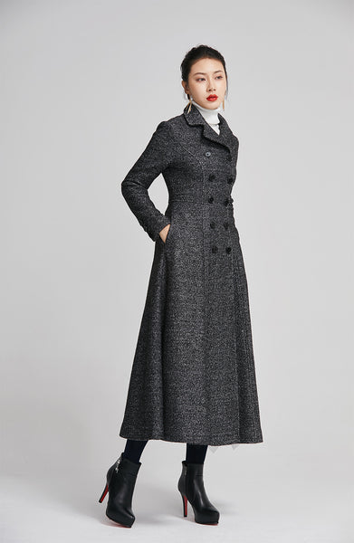 gray winter wool coat with double breasted for women 2252
