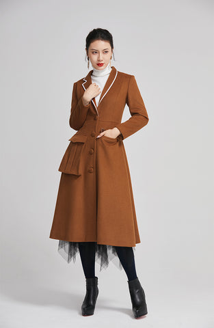 women long wool winter coat with single breasted and pockets 2253