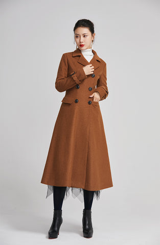 brown women winter long coat with single breasted and pockets 2254