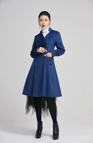 wool long coat for women with single breasted and pockets 2256