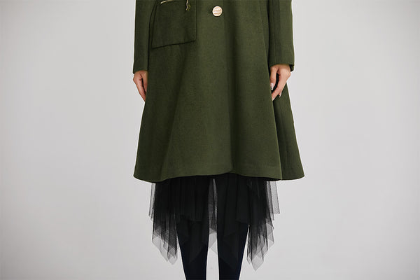handmade dark green winter coat with single breasted for women 2257