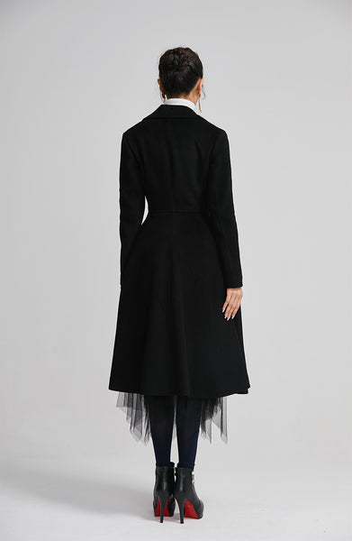 black wool winter coat with double breasted for women  2259