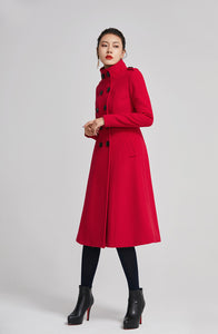 Red winter women wool long coat with pockets 2262
