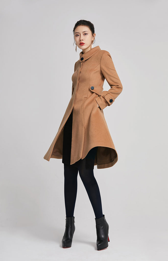 winter wool brown elegant long coat 2263