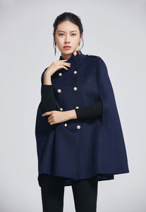 Double breasted wool cape coat 2279