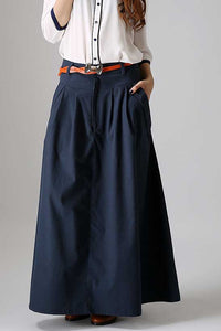 Custom made casual long pleated skirt in blue 0871#