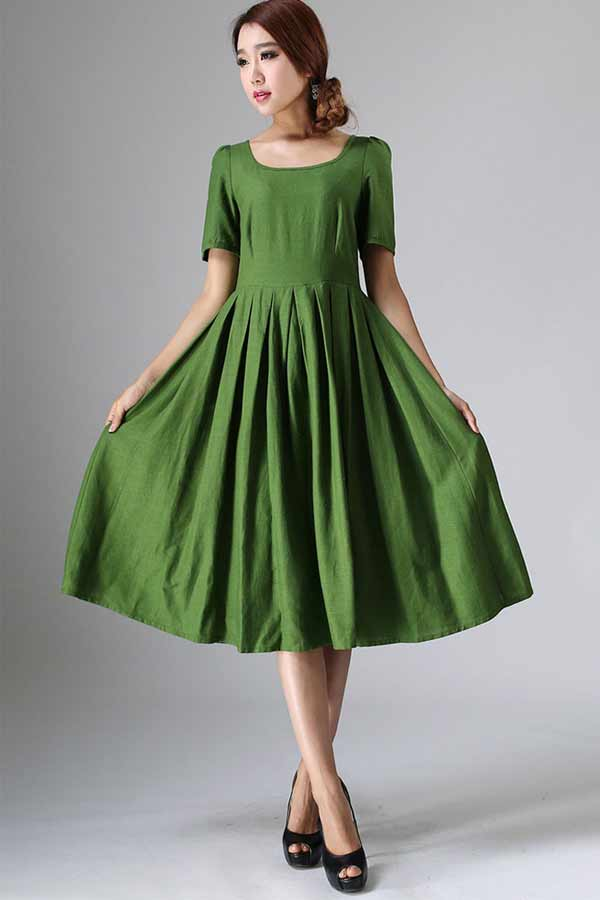 Green Prairie fit and flare dress 0973#