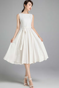50s sleeveless swing little white dress 2348#