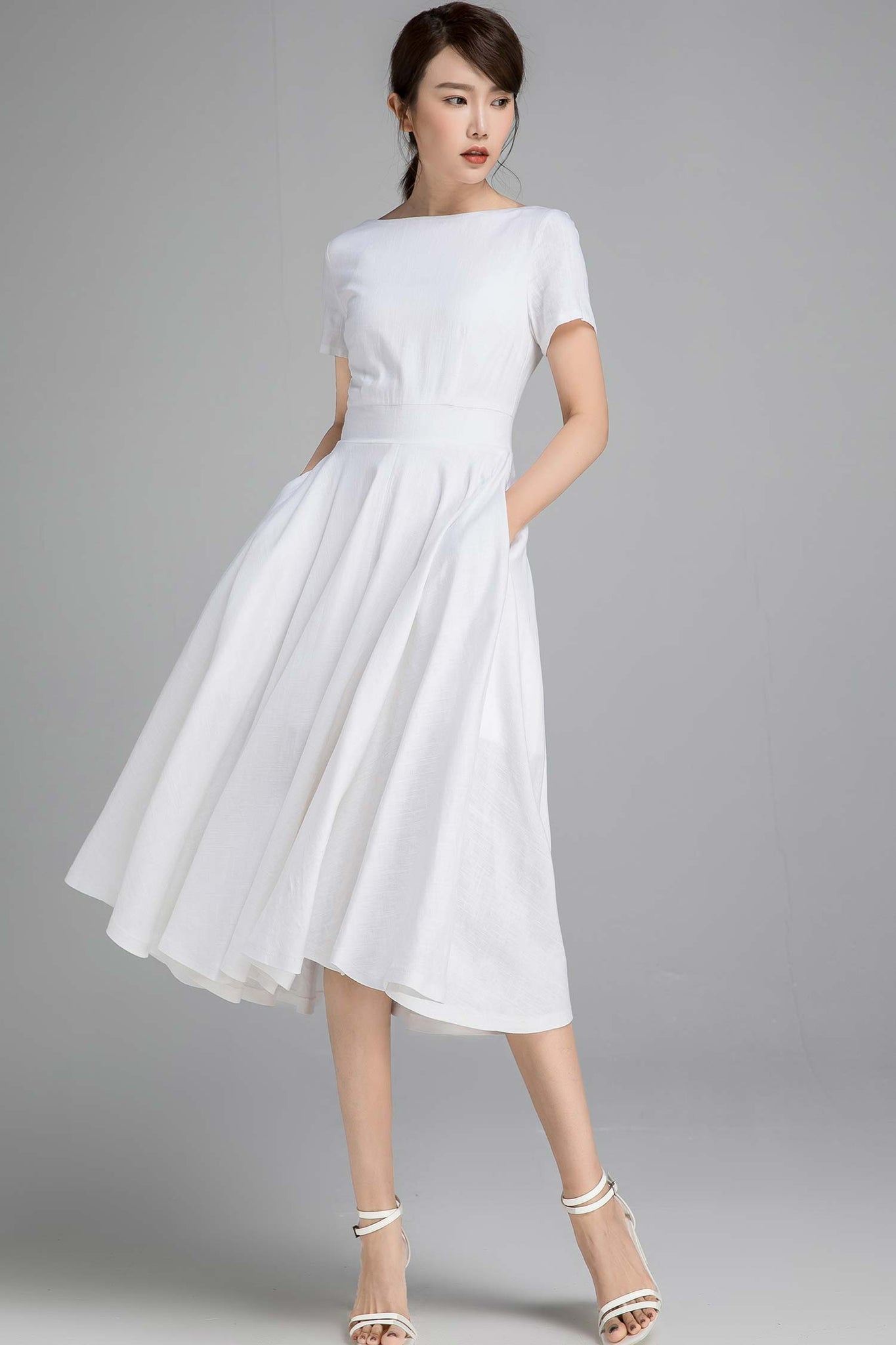 Swing fit and flare dress in white 2340#