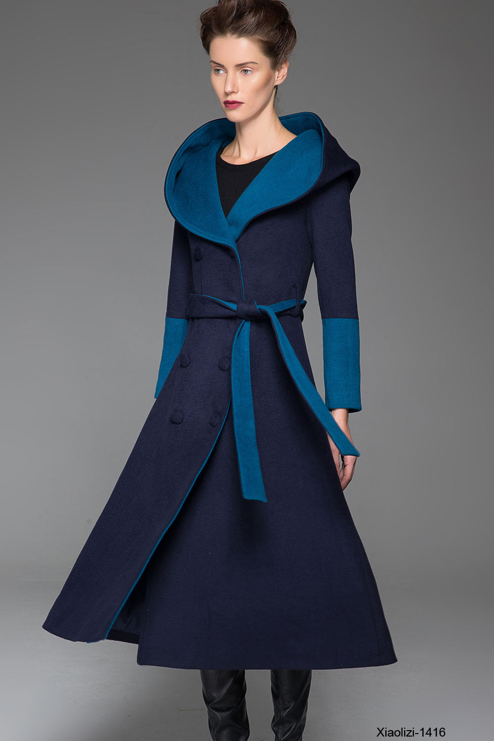 Blue hooded coat