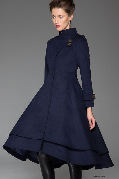 Blue long winter coat