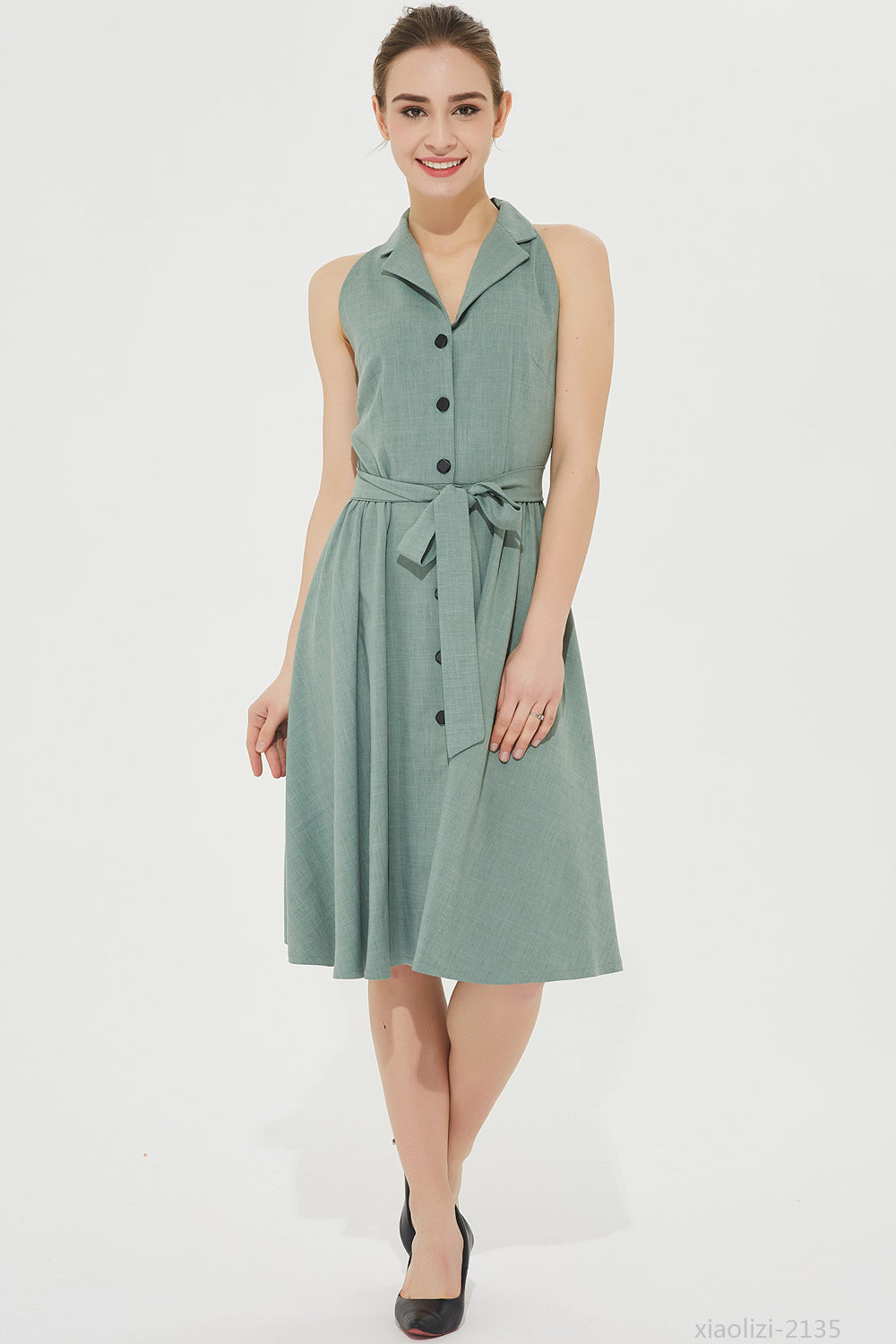 sleeveless shirt dress with self tie belt 2135#