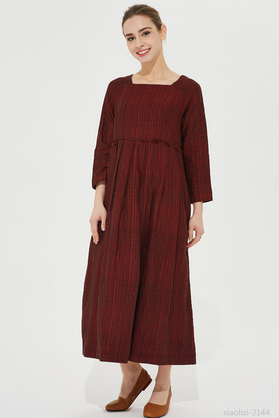 dark red linen dress