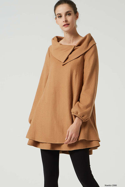 brown wool dress