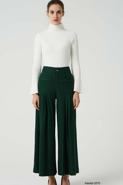 fitted wool pant