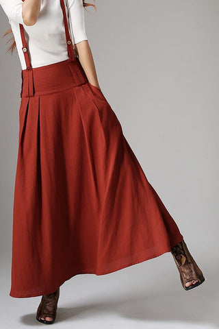Dark red skirt linen skirt maxi women skirt 1035#
