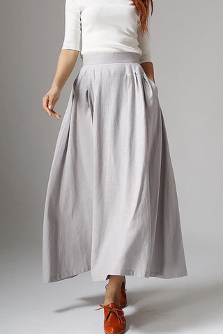 Light gray skirt linen skirt maxi skirt women skirt 1041#