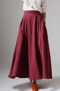 Elegant pleated maxi A line skirt 1048#