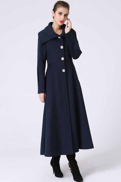 Long Blue Winter wool Coat with big collar 1054#