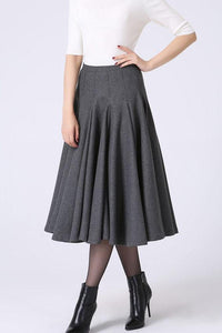 Light gray wool swing skirt,  elegent women's pleated skrit for winter 0748#
