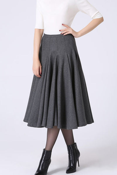 Minimalist flare skirt for winter,  women's full pleated skirt 1066#